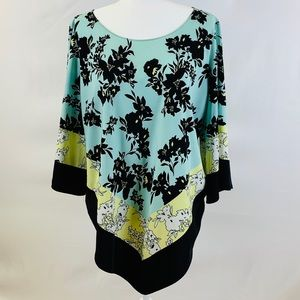 Alfani Wide-Sleeved Floral Tunic, Size Large